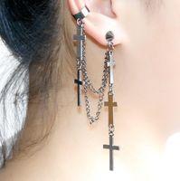 ohrstulpe kette großhandel-Gothic Punk Kreuz Charm Anhänger Ohrring lange Quaste Kette Ohr Manschette Stud Clip Ohrringe Schmuck