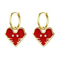 Wholesale chinese silver enamel resale online - Year of the Rat Lucky Mouse Hoop Earrings Red Enamel Heart Shaped Gold Earrings Chinese Style Red Drop Oil Silver Lady