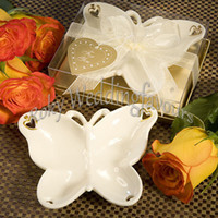Wholesale box themes resale online - 100pcs Porcelain Butterfly Candy Dish Weddiing Favors Butterfly Theme Party Table Reception Sweet Holder Event Keepsake