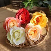 caixa de rosa de seda venda por atacado-Flor Artificial 9,5 centímetros da festa de casamento Silk Rose Cabeça de Flor Decoração DIY grinalda Scrapbook Gift Box Artesanato EEA744-1