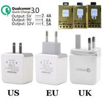 5v мощность mp3 оптовых-Fast Adaptive QC 3.0 5V 2.4A 9V 1.8A 12V 1.5A Eu США Uk адаптер питания зарядного устройства для Iphone 7 8 х 11 для Самсунга телефона ПК mp3