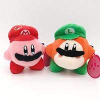 kirby doldurulmuş oyuncaklar toptan satış-Yeni Mario Kirby Waddle Dee Ve Mario Luigi Şapka Peluş Bebek Karikatür Yumuşak Dolması Çocuk Oyuncak Kolye En Iyi Hediye Yumuşak Oyuncak