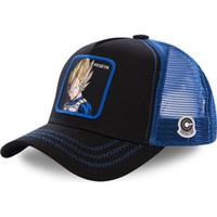 damla damla kapaklar toptan satış-Yeni Topu Mesh Şapka Vegeta Beyzbol şapkası Yüksek Kalite Kavisli Brim Siyah Mavi Snapback Cap Gorras Casquette Dropshipping