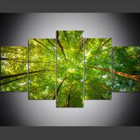 pintura al óleo árboles forestales al por mayor-5 unidades de gran tamaño lienzo arte de la pared fotos creativas hojas verdes de árboles forestales impresión del arte pintura al óleo para sala de estar