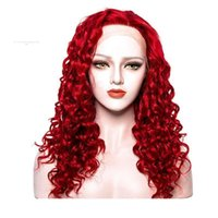 Wholesale curly red synthetic wigs for sale - Group buy Synthetic Kinky Curly Wigs Red Colored For Black Women Heat Resistant Long Red Kinky Curly Lace Front Wig Synthetic With Baby Hairs