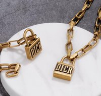 Wholesale gold plated necklaces sets resale online - Vintage Lock Short Pendant Necklace Women Lock Designer Letter Chain Necklace Bracelet Set For Gift Party High Quality Jewelry