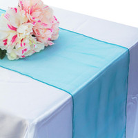 свадебные украшения оптовых-1pcs 30x275cm Organza Table Runner Soft Sheer Fabric for Wedding Party Banquet Table Decoration Chair Bows Swag Luxury