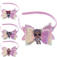 Wholesale boutique dolls for sale - Group buy Dolls Girls Hair Sticks Kids Sequin Bowknot Barette Leather Glitter Bows head bands Big Eye Girl Hair Boutique Hair Accessories GGA2534