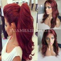 Wholesale burgundy human hair wigs resale online - Top Grade j Virgin Peruvian Human Hair Wavy Glueless Lace Front Wig Burgundy Hair
