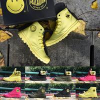 zapato militar del ejército al por mayor-Amarillo de lujo del diseñador Botas Palladium Pampa Hola cara de la sonrisa La mitad de arranque del Ejército Negro de la vendimia verde militar de la bota Zapatos mujer del hombre al aire libre Trainer