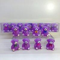 pasta filmi toptan satış-8 adet / takım Sevimli Karikatür Filmler Mini Dol Purplel Ayı Modeli Bebek Oyuncakları Ev Dekorasyon Aksiyon Figürleri Parti Kek Kız Çocuk Hediye Masa deocr