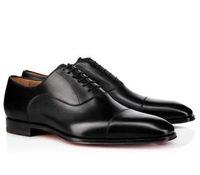 pisos de purpurina para la boda al por mayor-Hombres de marca Zapatos de vestir Mocasines con fondo rojo Fiesta de lujo Zapatos de boda Diseñador NEGRO CUERO genuino Zapatos de vestir de ante para hombre Resbalón en los planos