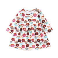roupas para festa de aniversário venda por atacado-Crianças da criança Do Bebê Da Menina Vestido de Verão Donut Print Saia de Aniversário Outfits Party Clothing Set frete grátis