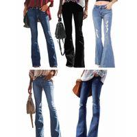 ingrosso pantaloni d'epoca-Jeans vintage bucati strappati buco Pantaloni a campana elasticizzati Pantaloni jeans flare donna Pantaloni larghi a gamba larga denim lavato Pantaloni denim LJJA2615