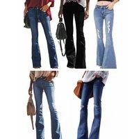 jeans para pernas magras venda por atacado-Mulheres Vintage Buraco rasgado jeans Stretchy sino bottoms Fit Flare Jeans Senhoras Casuais perna larga Washed Denim Calças calças jeans LJJA2615