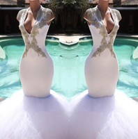 Wholesale mermaid dress stones online - White V Neck Tulle Mermaid Long Prom Dresses Beaded Stone Top Sweep Train Evening Party Dresses Prom Gowns BC1584
