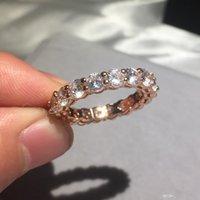 pedras pintadas venda por atacado-Nlm99 Marca 925 SILVER Rose Gold PAVE AJUSTE pintura de diamante cheio de casamento anel ETERNIDADE BAND anéis de noivado de pedra Tamanho 5,6,7,8,9,10