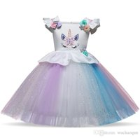 Wholesale military style gifts for sale - Group buy Unicorn Princess Dress Girls Kids Clothing Cartoon Animal Gifts Flower Dresses Sleeveless Party Festival Unicorn dress BY0692