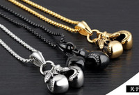 Wholesale glove necklace resale online - 2019 Hot sale Men Jewelry Gold Black Silver Double Boxing Glove Pendant Men Necklace Boxing Stainless Steel Pendants Necklaces