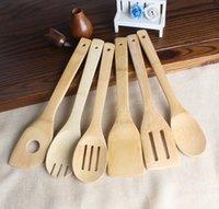espátula de utensilios de cocina al por mayor-Utensilios de cocina Cocina de madera de bambú Cuchara espátula ranurada Tenedor para mezclar Cena Comida Arroz Wok Palas Herramienta