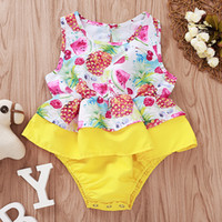 Wholesale baby clothes fruit resale online - Baby Girls Vest Rompers Fruit Printing Sleeveless O Neck Lotus Edge Romper Baby Infant Girl Leisure Clothes Baby Girl Romper