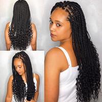 siyah kadınlar için ombre saç rengi toptan satış-Moda Saç Kıvırcık Örgüler Dantel Ön Peruk Sentetik Saç Ombre Saç Peruk Siyah Kadınlar Için Tanrıça Tığ Kutusu Örgüler Ombre Kahverengi Renk