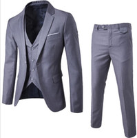 düğün için blazerler toptan satış-Erkek Takım elbise + Yelek + Pantolon 3 adet İnce Suits Düğün Blazers Ceket Erkek İş Sağdıç Suit Pantolon Yelek Setleri