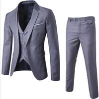 düğün için blazerler toptan satış-Erkek Takım Elbise + Yelek + Pantolon 3 Parça Setleri Ince Takım Elbise Düğün Parti Blazers Ceket erkek İş Sağdıç Takım Elbise Pantolon Yelek Setleri