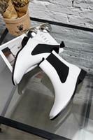 bottes noires noires achat en gros de-Fashionville * u671 40 cuir noir et blanc bottes plates c e mode tête carrée d'automne des femmes de la mode marque les meilleures chaussures de marque