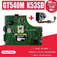 hm65 dizüstü anakart toptan satış-ASUS K53SD K53S A53S Için Laptop Soğutucu göndermek Laptop anakart Anakart K53SD Anakart testi 100% TAMAM GT540M 1 GB HM65