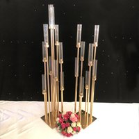 Wholesale acrylic cup holder resale online - Metal Candlesticks Flower Vases Candle Holders Wedding Table Centerpieces Candelabra Pillar Stands Party Decor Road Lead