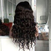 chinesische seide top spitze perücken groihandel-Körper-Wellen-Silk Top 18 Zoll # 1B Farbe chinesische Haar-Spitze-Perücke mit Haare Bangs 180% Dichte Spitze-Front-Perücke mit Baby-Haare