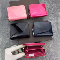 Wholesale Patent leather short wallet Fashion high quality shinny leather card holder coin purse women wallet classic zipper pocket