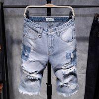 jeans shorts de joelho venda por atacado-Moda Mens rasgado Short Jeans oco Out Bermuda afligida verão Vintage Buraco Shorts Cowboys joelho Denim Shorts Masculino