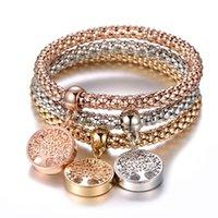 conjuntos de joyas de cristal de las señoras al por mayor-3pcs / set Cadena de Maíz Vida joyería de la pulsera fina señoras de la manera del encanto de la pulsera elástico regalo de las mujeres de cristal de circón árbol de la