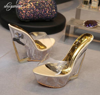Wholesale 14cm wedges resale online - High Quality Women Shoes Slippers Summer Transparent Crystal Model Catwalk Wedding Shoes High heeled cm Wedges