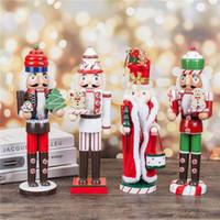 el yapımı yılbaşı süsü toptan satış-8 tipi 35cm Ahşap Fındıkkıran Kukla Noel Ahşap El Yapımı El Sanatları Ev Shop Masaüstü Süsleme Dekorasyon doğum günü hediyesi