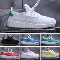 bebek tenisi toptan satış-Adidas tennis hu 2019 çocuklar İnsan Yarışı Koşuyoruz Ayakkabı erkek kız Güneş Paketi Siyah sarı PW HU HOLI Pharrell Williams Çocuk Sneakers bebek doğum günü hediyesi 26-35