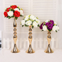 Wholesale chinese table vases resale online - Wedding Stage Propert Golden Mermaid Horn Candleholder Home Decoration Ornaments Wedding Road Guide Main Table Vase Supplies