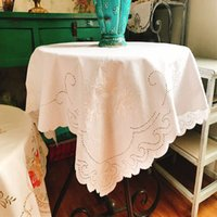 Wholesale embroidered tablecloth free shipping for sale - Group buy European pastoral cloth embroidered polyester square tablecloth bedside cabinet TV dustproof cover napkin LQ