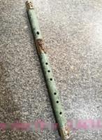 flûte en porcelaine achat en gros de-Collection Chine Folk populaire flûte de jade en cuivre Sculpture Statues de Dragon Décorer le vieux jade