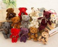 teddybären gefüllte tiere spielzeug großhandel-Angefüllter Teddybärplüsch spielt Mädchen-Babyparty-Parteibevorzugungskarikaturtier-Schlüsselbeutelanhänger 12cm Weihnachtsgeschenke