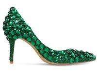 brautkleider grüne diamanten großhandel-neue sommer herbst dame pumpt echtes leder hochzeit schuhe designer luxus grün diamant mädchen party schuhe brautkleid schuhe frühling