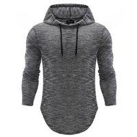 tshirt longo mais o tamanho venda por atacado-Plus size homens camisetas hoodies Outono Primavera Fina pulôver de manga comprida camisa casual Hip Hop magros fitness capuz Tops
