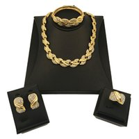 Wholesale gold plated costume jewellery resale online - Nigerian Women Wedding Jewelry Set For Brides African Jewelry Sets Dubai Gold Color Turkish New Costume Jewellery