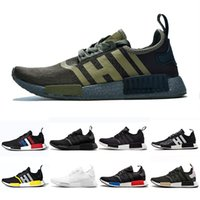 Wholesale military sports shoes resale online - Hot sale Bred Runner R1 Primeknit atmos Thunder nmds Running shoes For Men Women OREO Military Green red Marble Tri Color Sports sneakers