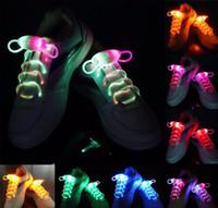 cordones de los zapatos iluminados al por mayor-20pcs (10 pares) Impermeable Light Up LED Cordones Moda Flash Disco Fiesta Brillante Noche Deportes Zapato Cordones Cuerdas Multicolores Luminoso
