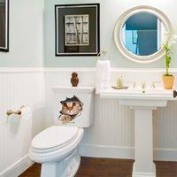 ankleideraum wandaufkleber großhandel-Selbstklebende wasserdichte Schlafzimmer Wanddekoration Aufkleber Toilette dressing Cartoon Nachahmung Kätzchen Aufkleber im Wohnzimmer Badezimmer