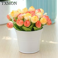 Wholesale flower buckets resale online - Decorative Silk Artificial Flower Pot Set With Iron Bucket Vase Mini Rose Flower Daisy For Home Living Room Table Window Decor