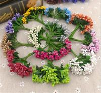 coronas de bricolaje al por mayor-12 tallos Flor artificial Estambre alambre tallo / matrimonio deja estambre DIY corona decoración de la boda caja